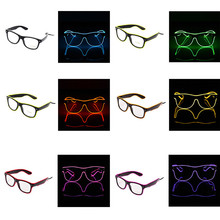 6 Colors Flaring LED Glasses Bar Party Fluorescent Dance DJ Bright Glasses EL Wire Neon LED Light Glow Atmosphere Activing Props(China)