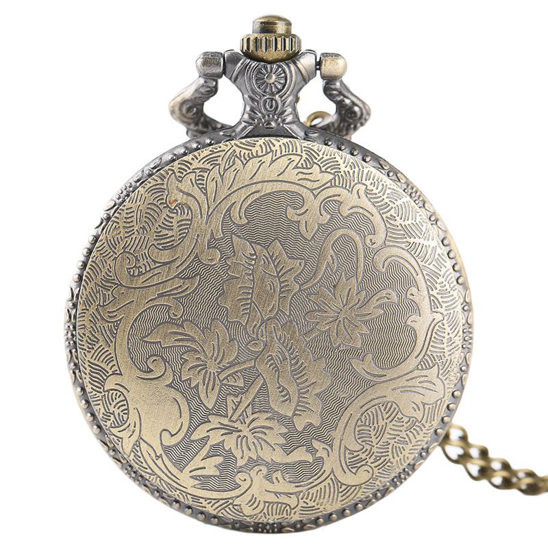 Antique Bronze Pocket Watch Classic Red Fire Fighter Symbol Carving Slim Necklace Creative Students Boys Clock Best Fireman Gift (2)