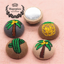 5pcs 23mm Coconut/Cactus/Pineapple Embroidery Fabric Covered Round Flatback Chunky Buttons DIY Home Garden Scrapbooking