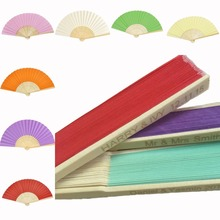 10pcs* Personalized Ladies Bamboo & Paper Fan Hollow Out Hand Folding Fans Outdoor Dancing Wedding Party Favor PPF01(China)