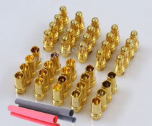 20pairs/lot 3.5mm RC Gold Bullet Connector Battery ESC Banana Plug with Heat Shrink Tubing