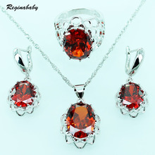 Reginababy Flower baskets Shaped Silver color Red lab Garnet Jewelry Sets For Women Crystal Necklace Earrings Ring 6/7/8/9
