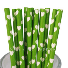 100pcs Green Heart Paper Straws,Novelty Outdoor Wedding Valentines Party Drinking Paper Straws Cake Pop Sticks Mason Jar Straws