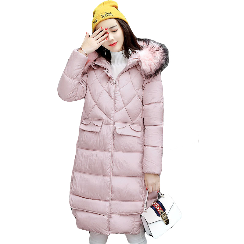 New 2017 Winter Jacket Women Coats Long Jackets Ladies Knee Length Padded Cotton Large Fur Collar Hooded Parkas Outwear CM1359Îäåæäà è àêñåññóàðû<br><br>