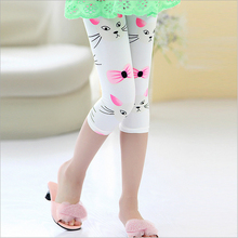 Hot summer 2016 kids new arrive 7th fashion girls leggings short cat kitty cartoon girls calf-length pants childrens trousers(China)