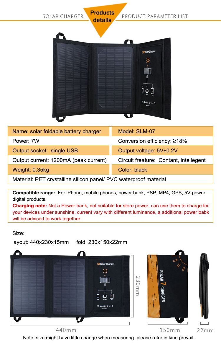 1x Wama 7W Solar Panels Charger for Mobile Phones 18650 Batteries Power Bank USB Outdoors Waterproof Foldable Camouflage