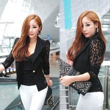 2014 New Women Lace Shrugs Ladies Formal Slim OL Formal Coat Jacket Suit Top Outwear Black White M L 38(China)