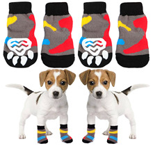 4 PCS Cute Non Slip Pet Dog Puppy Cat Socks with High Elasticity for Hardwood Floor Indoor Wearing