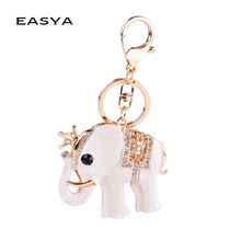 EASYA Elegant Elephant Crown Worn Car Pendant Key Chains Rhinestone Setting Trendy Key Rings Practical Small Gift for Men Women