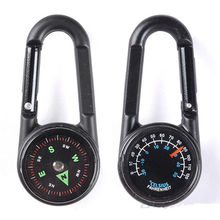 1 pc Keychain New Multifunctional Hiking Metal Carabiner Mini Compass Thermometer sporting outdoor goods(China)