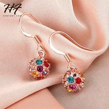 Top Quality E393 Ball Crystal Rose Gold Color Earring Austrian Crystal Wholesale Rose GOLD color(China)