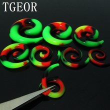 New Hot wholesale Fashion Charm 14pcs 7 gauges flexible reggae ear expander rasta spiral silicone ear taper free shipping