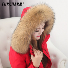 Real Raccoon Fur Scarf Women 100% Natural Raccoon Fur Collar Winter Warm Fur Collar Scarves Design For Lady Long 80cm Width 13cm(China)