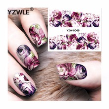 YZWLE 1 Sheet DIY Decals Purple Rose Nails Art Water Transfer Printing Stickers Accessories For Manicure Salon YZW-8068