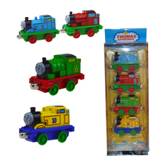 Thomas And Friends Metal & Plastic Train 4Pcs /Set Children's Toys Alloy Magnetic Model Steam Locomotive Pul Back Car Kit Gift(China)