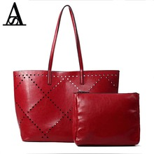 Aitesen Leather Hollow Out Women's Handbags Michael Luxury Big Women Shoulder Composite Bags Sac A Main Set Bolsas Bolso Mujer(China)