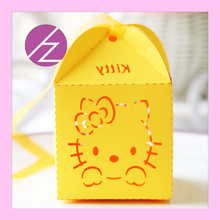 50pcs/lot laser cut free shipping and printable 250g pearl paper hello kitty wedding candy box baby shower favor boxes and bags