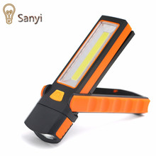 Adjustable COB LED Work Inspection Light Hand Torch Lamp Magnetic Camping Tent Lantern With Hook Magnet Use 4*AAA(China)