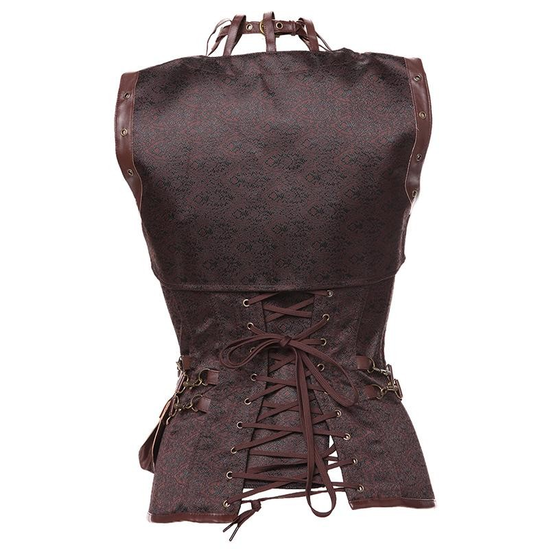 Plus Size 6XL Punk Corset Faux Leather Steel Boned Gothic Clothing Waist Trainer Basque Steampunk Corselet Cosplay Outfits Brown (3)