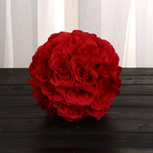"New fashion 8""(20cm) Red color Artificial Kissing ball Pomander Rose Flowers Bouquet DIY Wedding Party Decoration pendant ball"