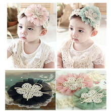 Kids Headwear Gauze Cute Flowers Headwrap Lace Bow Hairbow Hairband Ribbon