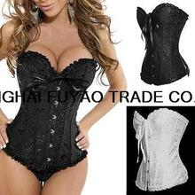Sexy Women wedding evening dress Corselet Lady Floral Pattern Boned Lace Up Corset plus size Bustier Lingerie/G-String Corsets(China)