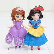 6pcs/set Princess toys Snow White Ariel Belle Sofia Sleep beauty Cinderella PVC Action figure doll children Christmas gift(China)