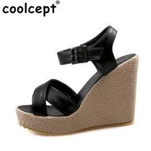Coolcept Women Wedges Sandals Ankle Strap Flatform Solid Shoes Women Open Toe Daily Fashion Sandal Slip On Footwear Size 34-39(China)