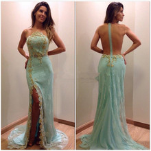 Mint Open Back High Leg Slit Lace Cheap Evening Dress Gown Golden Appliques Sexy Prom Formal