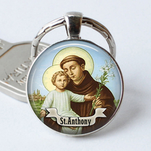 St Anthony Keychain Saint Keyring Bring Love To Your Life Medal Jewelry Gift Religious Cabochon Religious Jewerly Key Chain Ring(China)