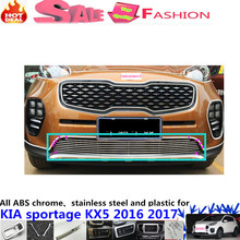 Hot Sale car body protect detector stainless steel trim Front up Grid Grill Grille Around 1pcs For Kia Sportage KX5 2016 2017