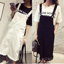 2017 spring and summer season, the new Korean women's denim dress, sweet braces long student(China)