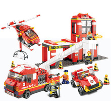Models building toy 0227 City Fire Department Emergency Fire Engine Helicopter 447pcs Building Blocks compatible with lego(China)