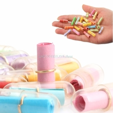 100pcs/Lot Message in a Bottle Message Cute Capsule Letter Love Pill Full Clear Color Mini Wish Bottle(China)