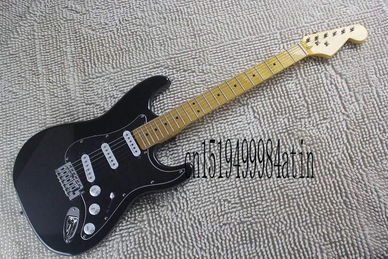 Free Shipping Top Quality Factory Guitar F Custom Body black Pickguard Body stratocaster Electric Guitar !! @21(China)