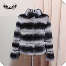 BFFUR 2017 Chinchilla Fur Coats For Women Real Natural Rex Rabbit Fur Short Jackets Warm Winter Ladies Coats BF-C0072(China)