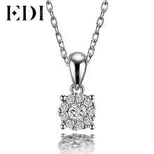 EDI Classic Real Natural Diamond Pendant Necklace For Women 18K Solid White Gold Diamond With 16' Necklace Chain Wedding Jewelry(China)