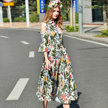 Women Elegant Dresses Off Shoulder Half Flare Sleeve Beautiful Flowers Print Early Spring Turn-down 2017 Mid-Caf Big Swing Dress(China)