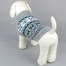 Puppy Dog Sweater Jacket Winter Snow Pattern Tiles Christmas Clothes XS-XXL(China)