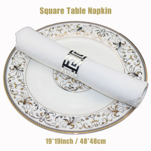 100pcs/lot Hotel Banquet Decorative Square Folding Cloth Restaurant White Plain Polyester Serviette Wedding Party 19*19in Napkin