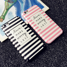 Black Pink Stripe Case For iPhone 6 6s Heart Camera Window Soft TPU Painted letters Back Cover Capa