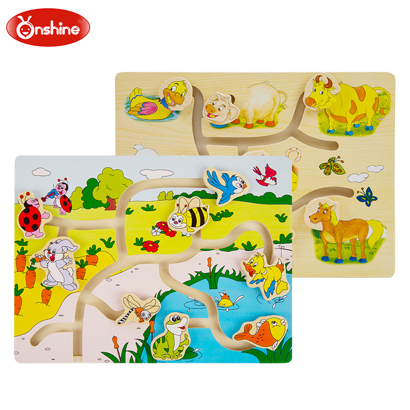 Onshine Brand Farm Animal Kids/children Educational Wooden Toys Multilayer Cartoon 3D Animal Puzzle Baby Gift One Piece(China (Mainland))