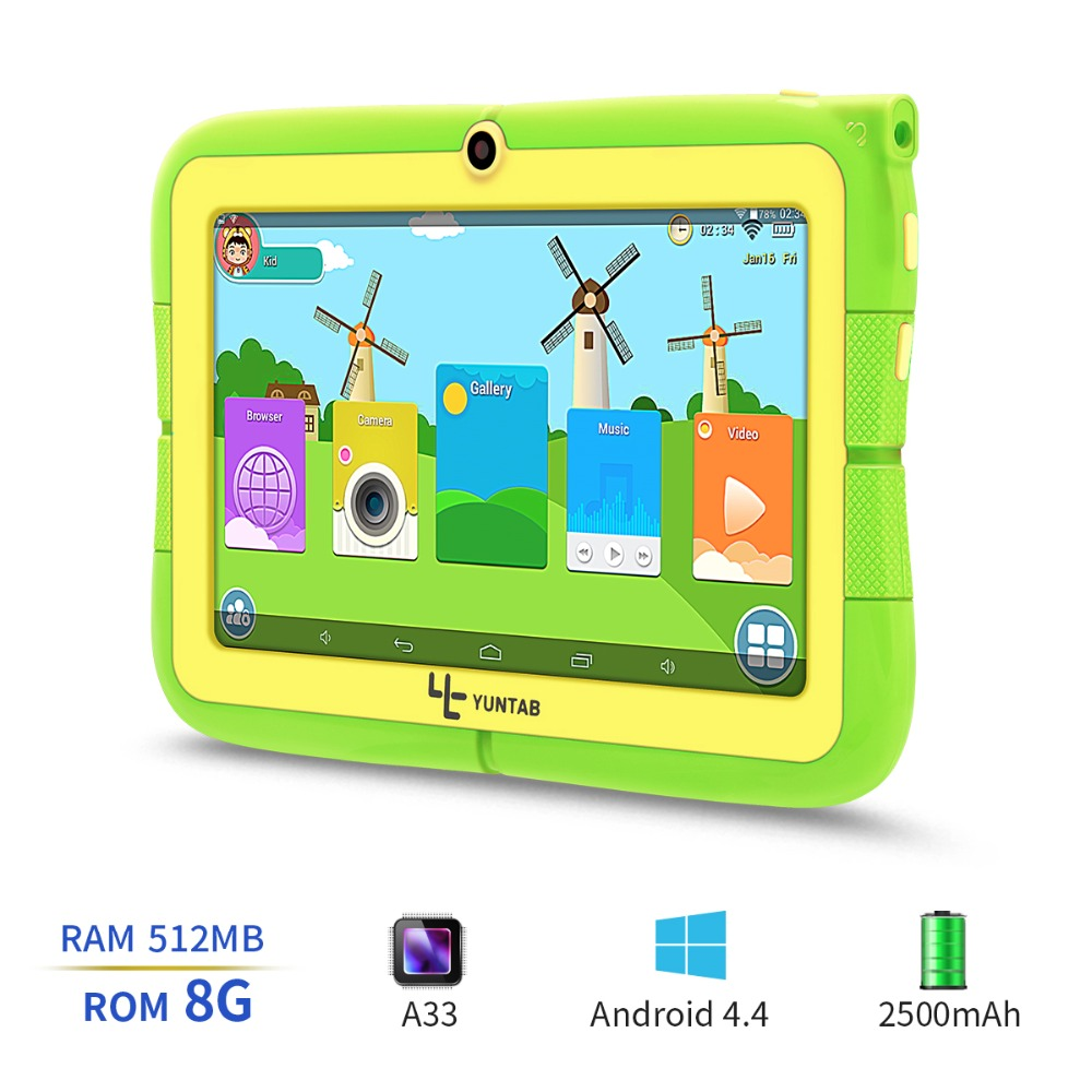 Yuntab Kids Tablet Q88R 7″ Allwinner A33,1.5Ghz Quad Core Android 4.4 Tablet PC,Supported with iWawa Software Parental Control