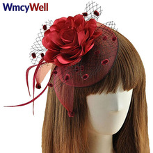 WmcyWell Girl's Fascinators Headband Veil Net Flower Hair Clip Cocktail Tea Party Wedding Handcrafted Headwear Hair Accessories(China)