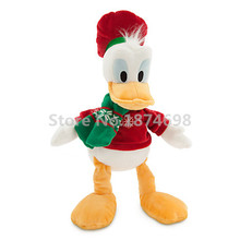 Rare Mickey Friends Donald Duck Christmas Dress Plush Toy 40cm Cute Pelucia Stuffed Animals Kids Soft Toys for Children Gift(China)