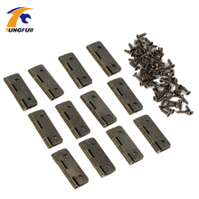 12pcs Antique Brass Vintage Jewelry Gift Wine Wood Box Hinge Furniture Fitting Cabinet Hinge Accessories for Woodworking w/Screw(China)