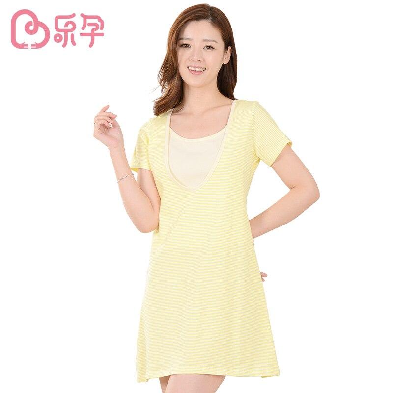 leyun maternity dress 2PCSNursing Pajamas Set Combed Cotton Maternity Nursing Sleepwear Maternity Breast Feeding Clothes<br><br>Aliexpress