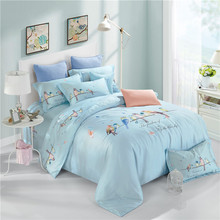 Papa&Mima Cartoon Style Birds Blue Printed Bedding Sets Queen King Size Soft Silk Tencel Bedlinens Duvet Cover Sets Pillow Cases