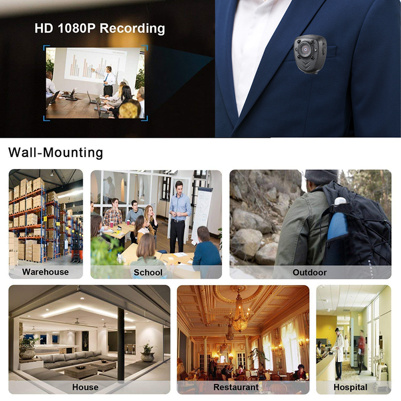 Full HD 1080P Police Body Lapel Worn Video Camera DVR IR Night Vision LED Light Cam Digital Mini DV Recorder Voice 32G TF Card_8