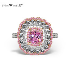 Brand Jewelry SHIPEI New Fashion Pink CZ Ring In Plated White Gold with TOP Crystal Ct. Total Weight 6.5 Fashion Ring for Women(China)